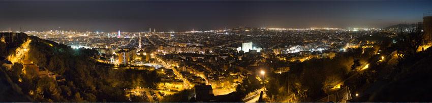Das Stadtpanorama bei Nacht