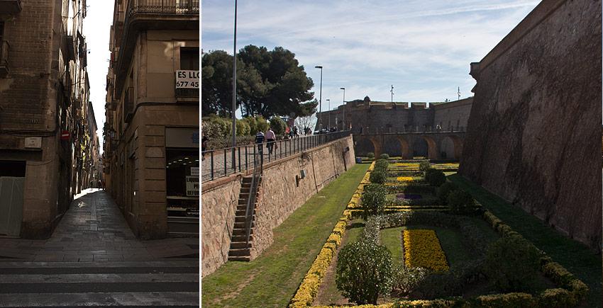 Eine Straße in der Altstadt und das Castell de Montjuïc